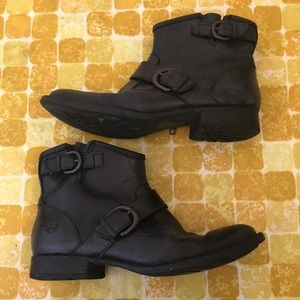 Born black leather ankle boots
